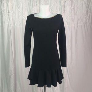 Rachel Zoe Black Zipper Collar Ruffle Dress Sz 4